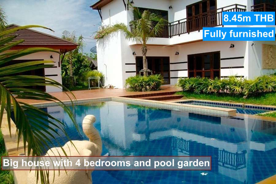 Buy a big pool house with 4 bedrooms in vip chain resort for Houses with 4 bedrooms and a pool