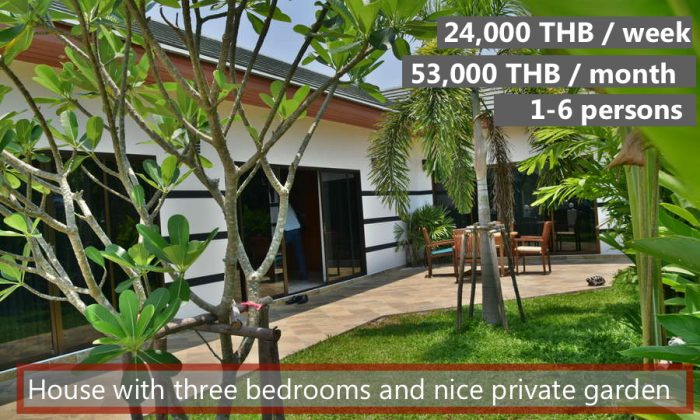 E Holiday house for rent at the beach in Rayong, with 3 bedrooms, 2 common pools