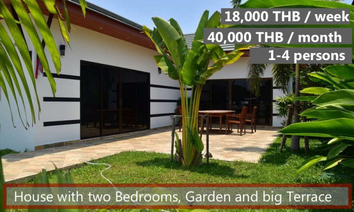 E Rent a family house with garden and terrace in Rayong